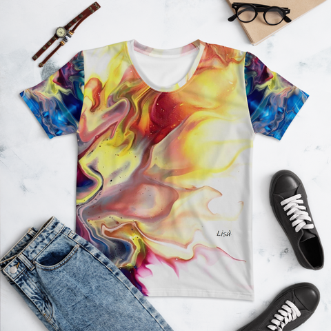 T-shirt with Blue and Yellow fluid art | Unisex