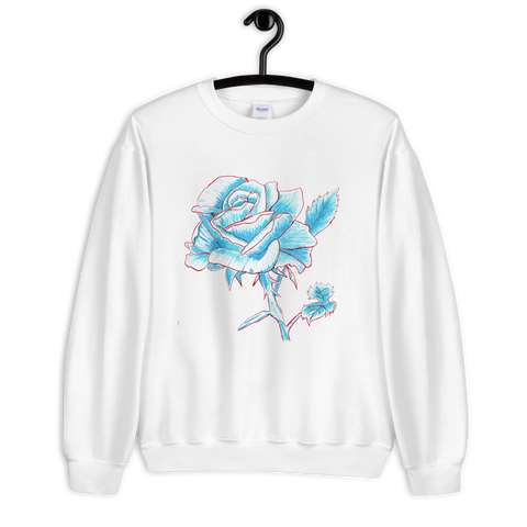 Felpa semplice con Blue and red rose | Donna