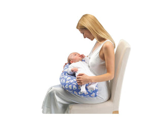 Mother and baby using the Portable Nursing Cushion in blue
