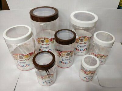 3pcs Clear Transparent Plastic Polo PET Pot Spice Containers Jars with Spoons 700ML