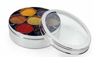 Authentic Indian Spice Tin / Masala Dabba See Through Lid W/Free Spoon Stainless