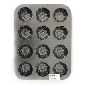 NON STICK 12 CUP FLOWER TIN