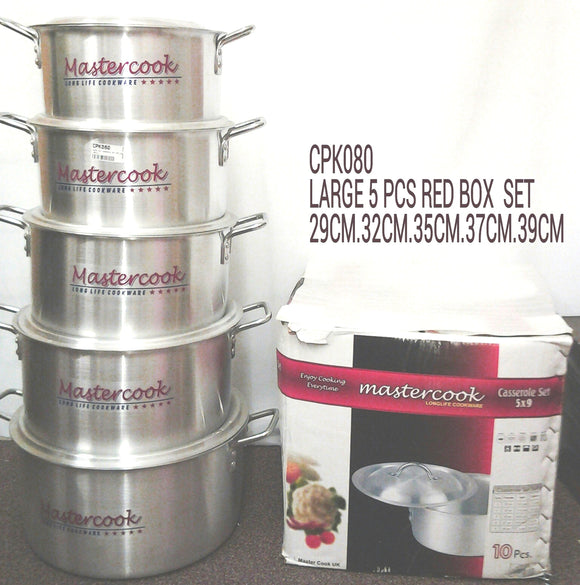 LARGE 5PC CASSEROLE SET RED BOX 29CM-39CM