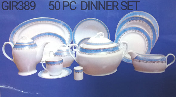 50PC DINNER SET BLUE 396