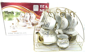 15PC GOLD TEA SET ON STAND