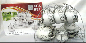 15PC SILVER TEA SET ON STAND
