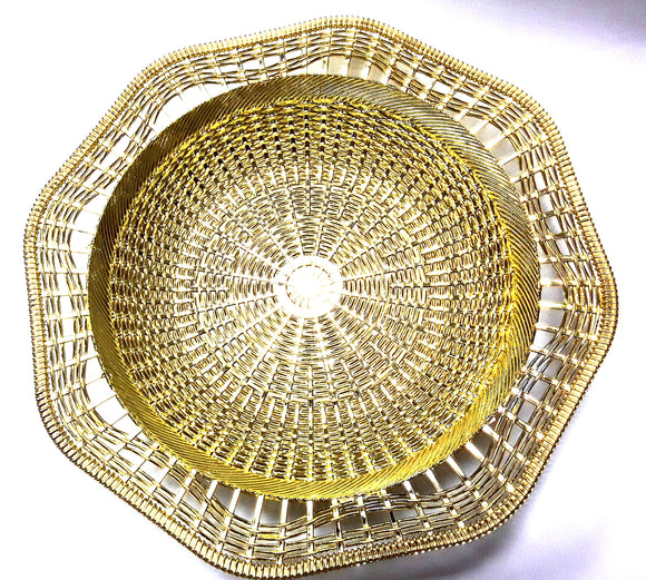 GOLD/SILVER PL HEXAGONAL DISH 1733