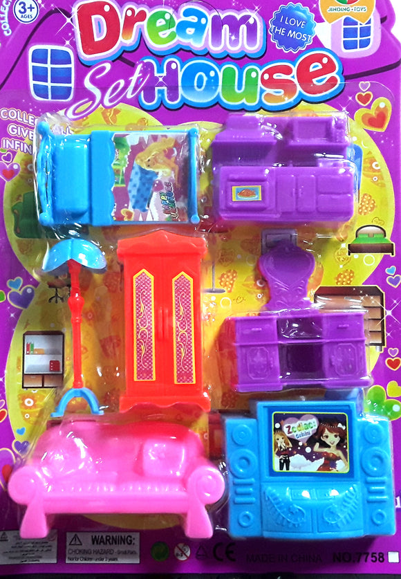FURNITURE TOY SET ON CARD (7758)