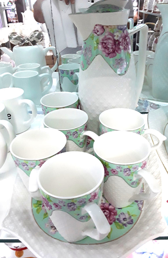 8PC PORCELAIN MUG SET WITH TRAY FLOWER