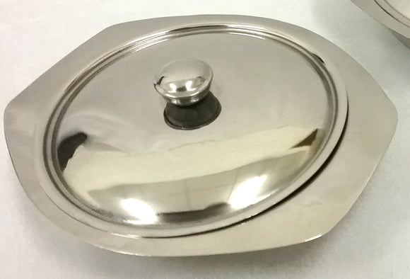 STEEL GRATIN DISH 6.5 INCH & 7.5 WITH LID