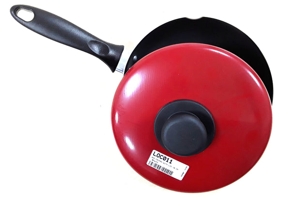 RED FRYPAN WITH LID 18 CM