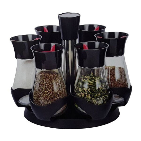 6PC PL TOP REVOLVING SPICE RACK 130ML MEDIUM