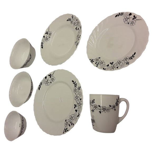 BLOSSOM BLACK DINNER PLATE, SOUP PLATE, SIDE PLATE, DEEP CEREAL BOWL, ETC.