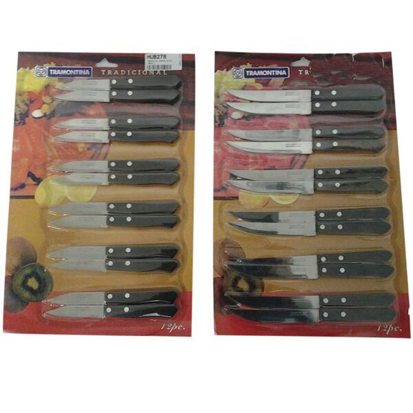 TRAMONTINA PARING KNIVE & UTILITY KNIFE ON CARD 12PC 5