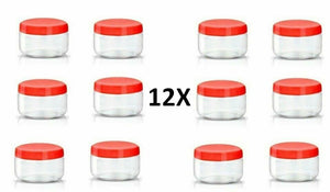 12X 50ml Red Top Plastic Food Storage Canisters Jar Ladies Makeup Spices