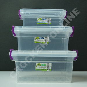 Plastic Clear Storage Box Clip Lid Locking Kitchen Office Home Food Container