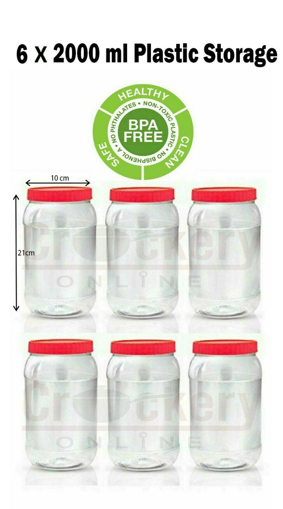 6 X 2000ml Plastic Storage Pet Jars Container Canister Pots Screw Top Food Grade