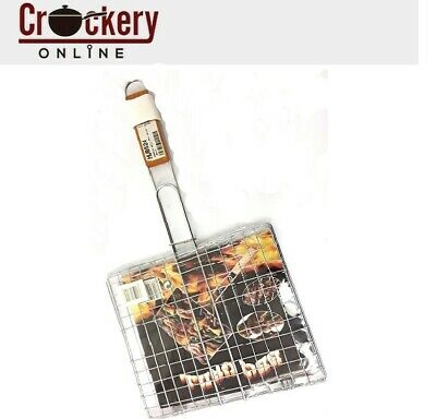 BBQ Outdoor Cooking Barbecue Metal Grilling Meat Burger Fish Basket Rack Tong