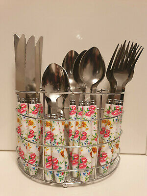 24 PIECE CUTLERY SET FLORAL WITH STAND TABLEWARE DINING KITCHEN STAINLESS STEEL