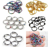 10pcs Stainless Steel Captive Bead Hoop Ring Nose Ball Body Piercing Jewellery