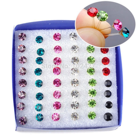Wholesale 24Pairs/pack Fashion Multicolor Round Rhinestone Crystal Stud Earrings For Women Girls Allergy Free Jewelry