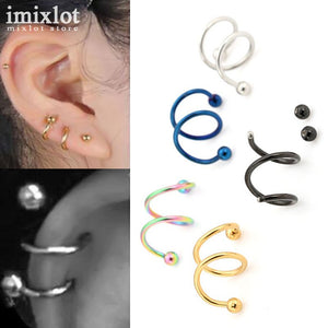 16G 316L Stainless Steel Spiral Ear Cuff Clip Women Men Clip On Earrings Fake Piercing Nose Lip Spiral Rings Body Jewelry 10pcs