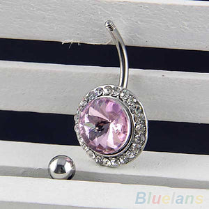 24PCS Rhinestone Barbell Button Body Piercing Dance Jewelry Navel Belly Bar Ring