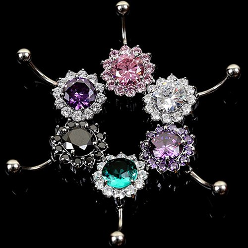 Women Body Piercing Jewelry Rhinestone Ball Button Barbell Bar Belly Navel Ring