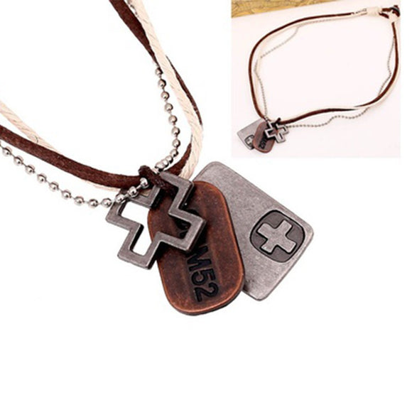Vintage Unisex Alloy Cross Pendant Cowhide Leather Hemp Rope Necklace Jewelry