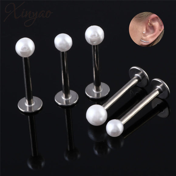 Xinyao 2pcs/lot Surgical Steel Labret Lip Percing Nez Imitation Pearl Ball Earring Stud Screw Percing Tragus for Women Percing