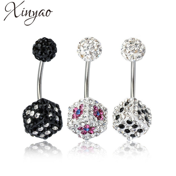 XINYAO 2017 New Stainless Steel Rhinestone Crystal Belly Button Rings Fashion Square Dice Navel Rings Body Piercings For Women