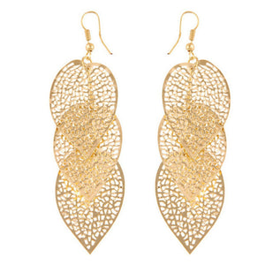 1Pair Women Alloy Hollow Leaves Dangle Earings Eardrop Jewelry GD