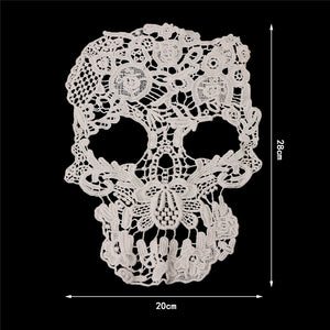 1PC Skull Lace Embroidery Fabric Sew On Patch Bag Clothes Dress Applique Craft DIY W215