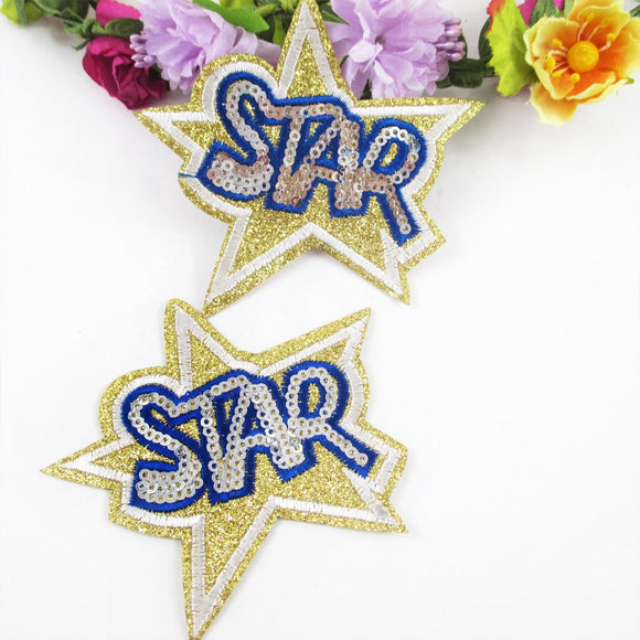 85*80mm star sequin embroidery patch diy clothing patch applique blossom DIY Accessory Sewing Supplies ,20Y50857