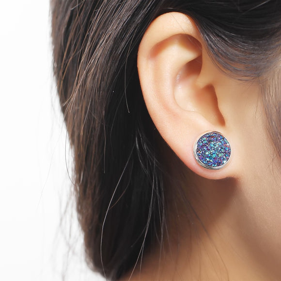 17KM Brincos Holographic Round Stud Earrings Multicolor Piercing Fish Scale Pattern Mermaid Earring For Women Bijoux Jewelry