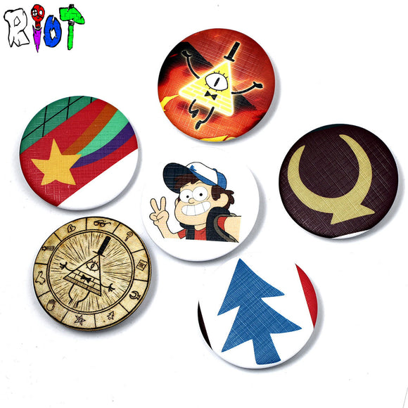 6 Types Gravity Falls bill Dipper Mabel Figure model pins and broches 4.5cm round tinplate badge jewelry for bag and lapel gift