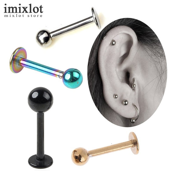 2pcs Silver/Gold/Black 16G 18G Stainless Steel Ball Lip Ring Labret Helix Tragus Ear Piercing Body Jewelry For Women