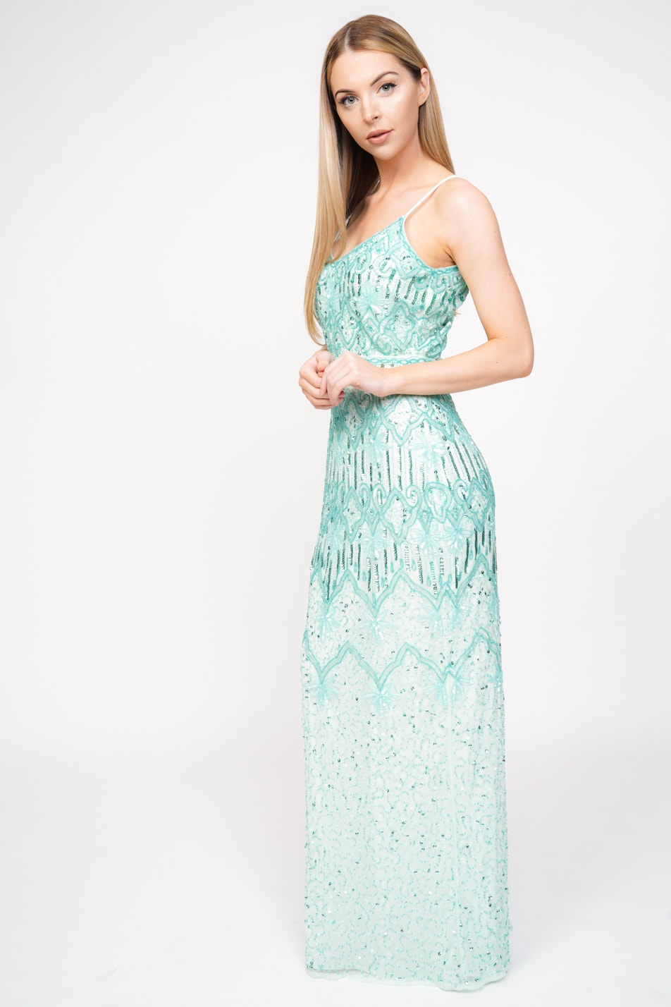 117ab4bb20b2 MINT ALL OVER SEQUIN BEADED CAMI MAXI DRESS – Lady Love London