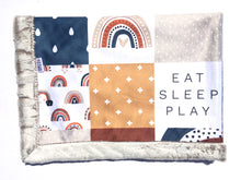 Load image into Gallery viewer, Rainbow Eat Sleep Play Minky Blanket - Almond Whistler - In Stock - Royal Minky Canada