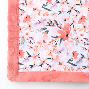 Peachy Floral Minky Blanket - Papaya Hide - In Stock - Royal Minky Canada