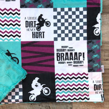 Load image into Gallery viewer, Dirt Bike Purple/Teal Minky Blanket -  Baby - Royal Minky Canada