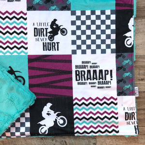 Dirt Bike Purple/Teal Minky Blanket -  Baby - Royal Minky Canada
