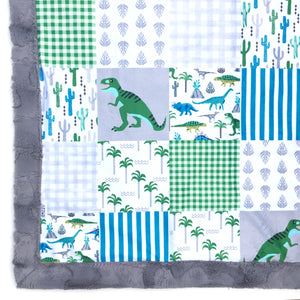 Dinosaur Patchwork Minky Blanket - Graphite Hide - In Stock - Royal Minky Canada