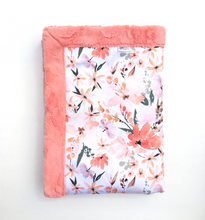 Load image into Gallery viewer, Peachy Floral Minky Blanket - Papaya Hide - In Stock - Royal Minky Canada