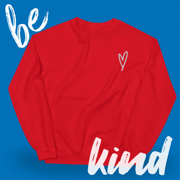 Heart Sweater, Red Heart Hoodie, Kindness Month, Heart On My Sleeve Confident Clothing and Creative Community
