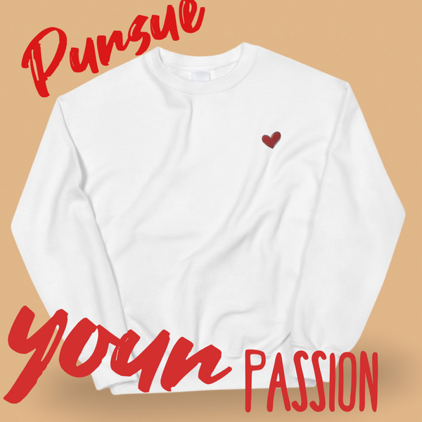 White Heart Sweater, White Heart Shirt, Kindness Month, Heart On My Sleeve Confident Clothing and Creative Community