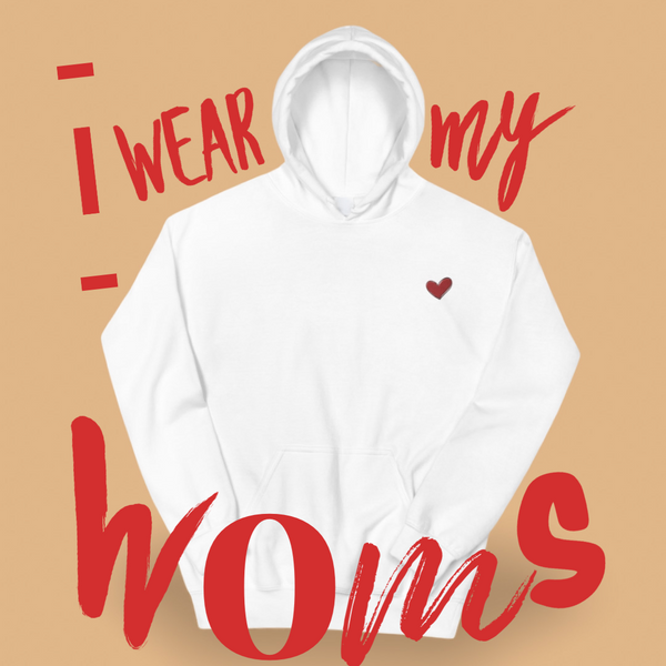 White Heart Hoodie Sweater, White Heart Shirt, Kindness Month, Heart On My Sleeve Confident Clothing and Creative Community