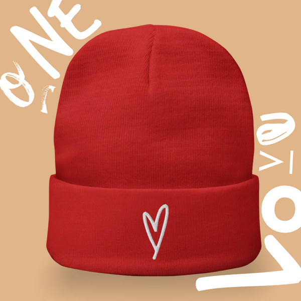 White Heart Beanie Stocking Cap, Red Beanie Heart Boggin, Kindness Month, Heart On My Sleeve Confident Clothing and Creative Community