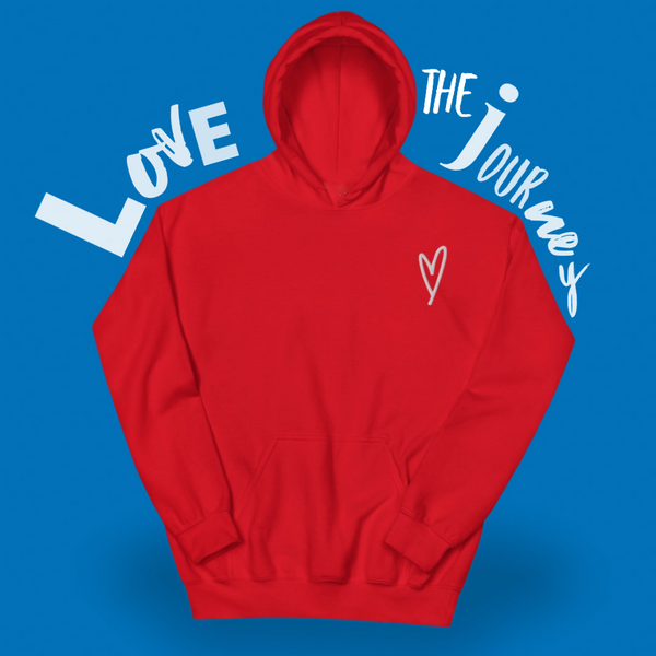Red Heart Hoodie Sweater, Red Heart Shirt, Kindness Month, Heart On My Sleeve Confident Clothing and Creative Community