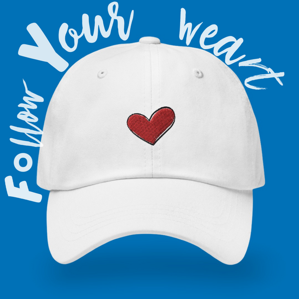 White Heart Baseball Cap, White Heart Dad Cap, Kindness Month, Heart On My Sleeve Confident Clothing and Creative Community